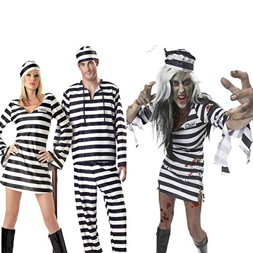 AQTOPS Adult Prisoner Costumes Halloween Role Play Outfits