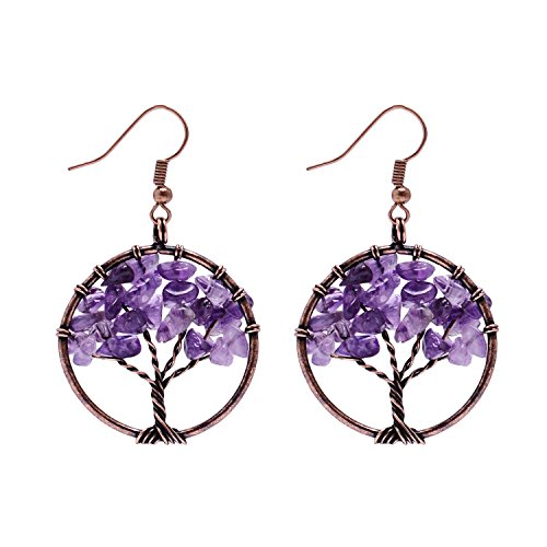 Tree of Life Pendant Wire Wrapped Wisdom Ancient Copper Earrings Gemstone Chakra Jewelry Mothers Day Gift ()