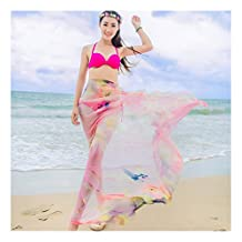 GERINLY Swimsuit Wrap - Pastel Fancy Colors Sheer Chiffon Sarongs
