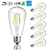 Pack of 6 ST64 LED Vintage Filament Edison Light Bulb 4W Dimmable Antique Edison Light Bulbs E26 120V 2700K Warm White Lights