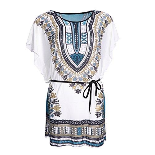 Robe d'Et Blouse Manches Courtes Chauve-souris Taille Plus Style Bohme Ethnique pour Femme Bleu Clair