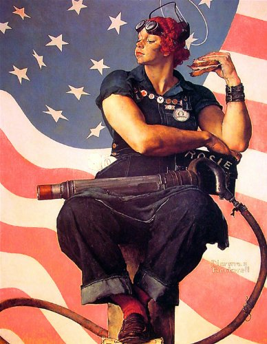 (Olde Time Mercantile Rosie The Riveter Art Print Norman Rockwell Print - 8 in x 10 in - Matted to 11 in x 14 in - Mat Colors Vary)