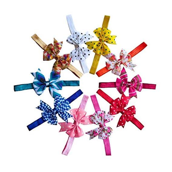 Shrihari Creations Grossgrain Ribbon Floral Polka Dot Bow Headband for Girls, 10 Pcs (Multicolour)