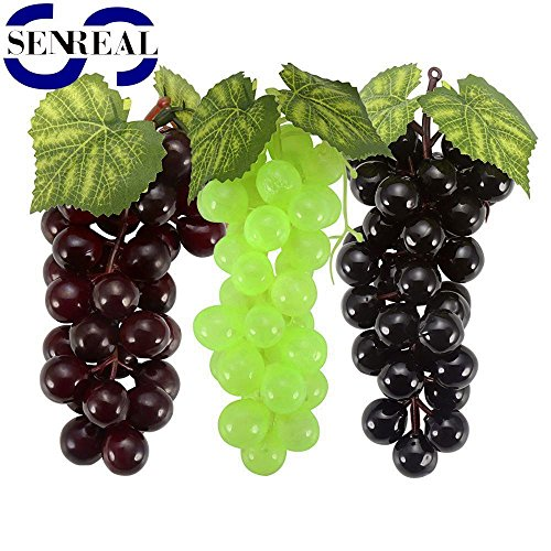 SENREAL 6 Bunches of Realistic Artificial Grapes Lifelike Fake Fruit Plastic Decorative Fruit Pub Party Home Kitchen Cabinet Ornament Children (Grape Decor)