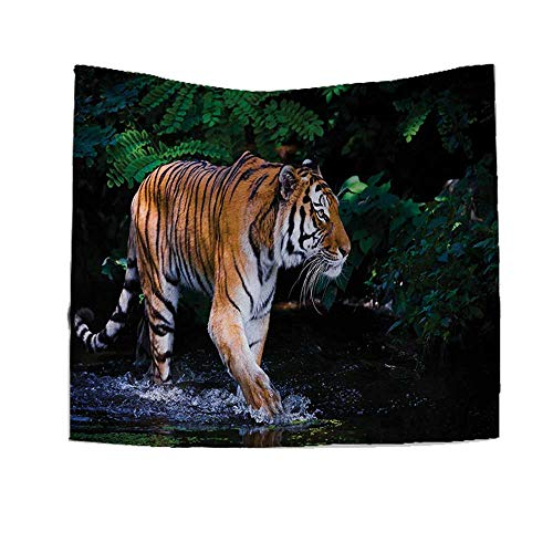 RuppertTextile Safari Tapestry Wall Tapestry Tiger in Water Stream Hunting Danger Trees Tropical Pond Hiding Captive Art Wall Decor 39W x 39L Inch Green Orange -