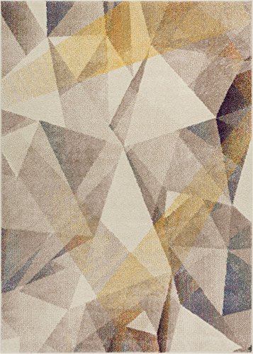 (Well Woven Barra Dusty Beige Yellow Multi-Color Modern Geometric Triangle Pattern Abstract 8x11 (7'10