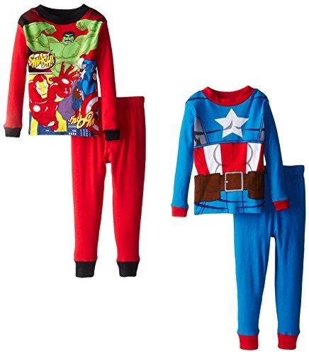 Marvel Little Boys' Avengers Captain America Costume 4-Piece Pajama Set ,Multi (Captain America Girl Costume With Pants)