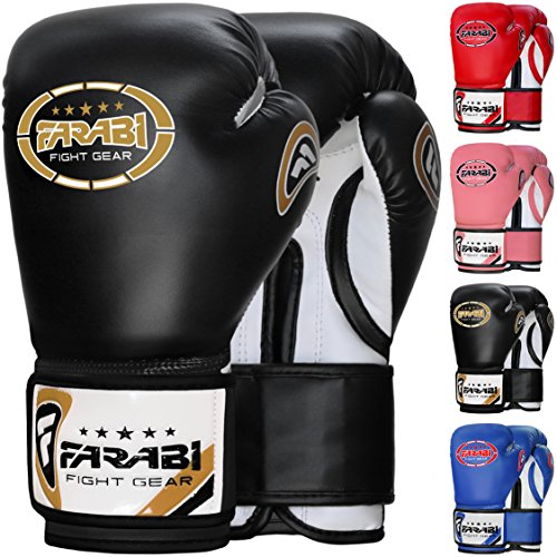 (Farabi 8oz Junior Boxing Gloves Kids Boxing Gloves 8-oz Boxing Gloves Sparring, Training Bag Mitt Gloves for Punching, Sparring, Workout, Training (8-OZ, Black))