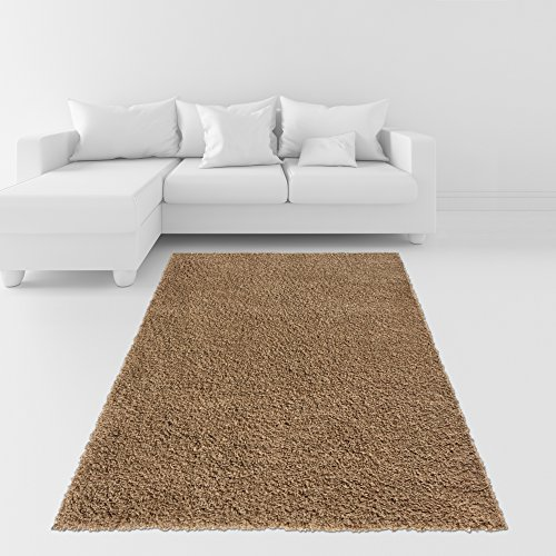 Soft Shag Area Rug 7x10 Plain Solid Color BEIGE - Contemporary Area Rugs for Living Room Bedroom Kitchen Decorative Modern Shaggy Rugs