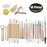 BESKIT 30PCS Clay Sculpting Tools Pottery Carving Tool Set Halloween Sculpting Kit - Includes Clay Color Shapers, Modeling Tools & Wooden Sculpture Knife & Pumpkin Carving Tools (Type 2)