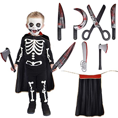 7 PCs Horror Party Decoration Bloody Weapons, Fake Weapons Dress Up Accessories For Haunted Houses Sickle, Axe, Saw, Scissors, Bloody Knives and Kids Halloween Cape -