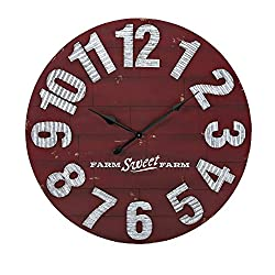 CC Home Furnishings 36 Distressed Red and Galvanized Finish Decorative Round Wall Clock