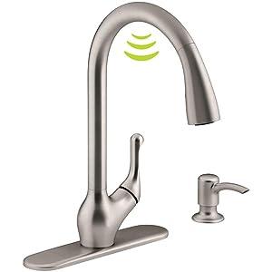 Kohler K-R78035-SD-VS Barossa with Response Touchless Technology Single-Handle Pull-Down Sprayer Kitchen Faucet in Vibrant Stainless