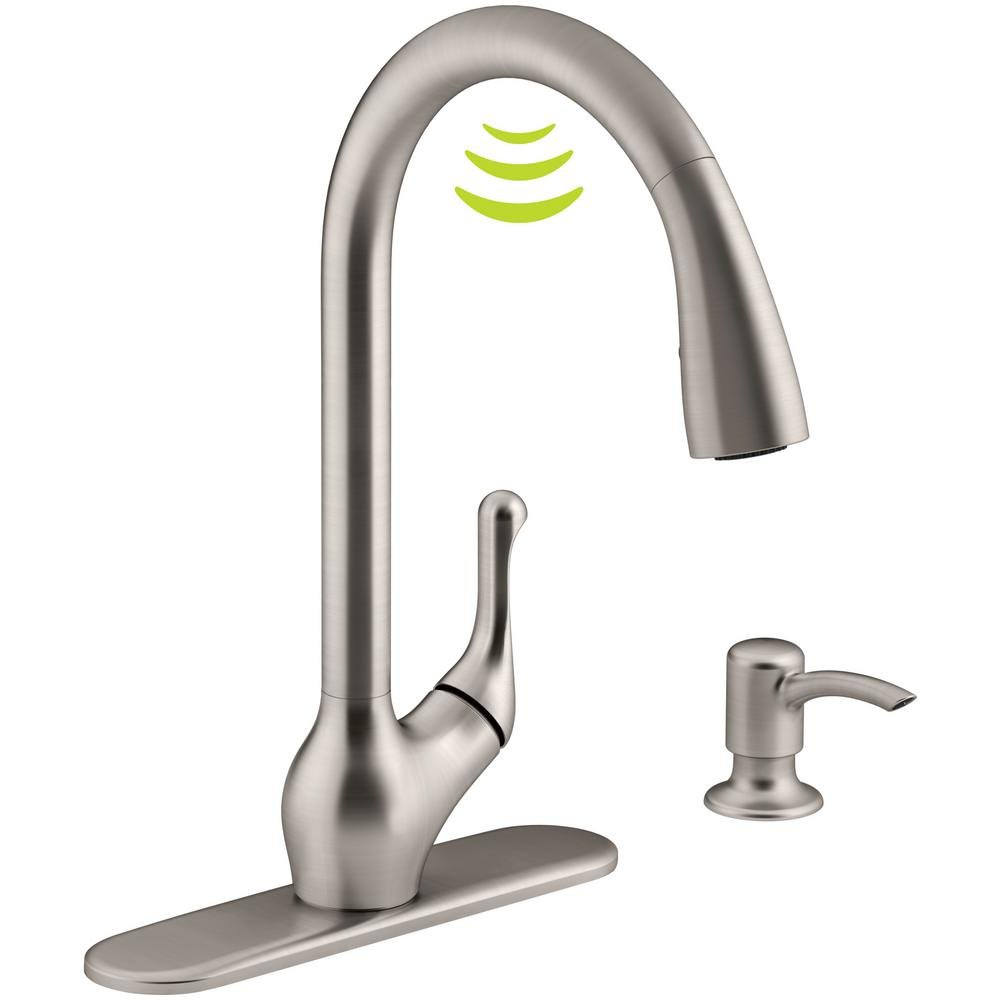 Kohler K-R78035-SD-VS Barossa with Response Touchless Technology Single-Handle Pull-Down Sprayer Kitchen Faucet in Vibrant Stainless