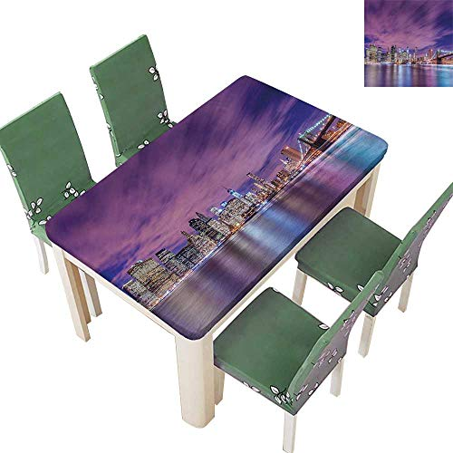 Printsonne Table in Washable Polyeste City Skyline at Night Manhattan USA American Panorama Violet Purple Wedding Party Restaurant 54 x 102 Inch (Elastic Edge) -