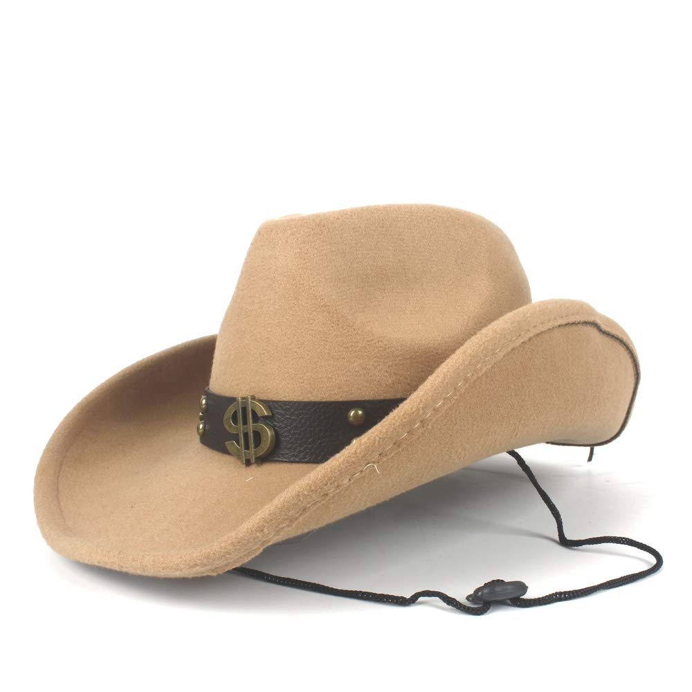 CONGCASE Fashion Hats Women Men Wool Hollow Western Cowboy Hat Gentleman Roll Up Brim Sombrero Cap Dad Hat with Punk Belt