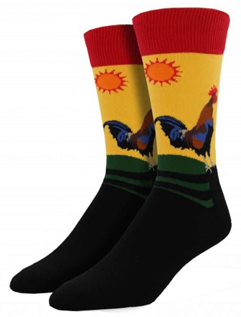 Socksmith Mens Novelty Crew Socks  ''Early Riser '' - Morning Gold, Large by Socksmith (Image #1)