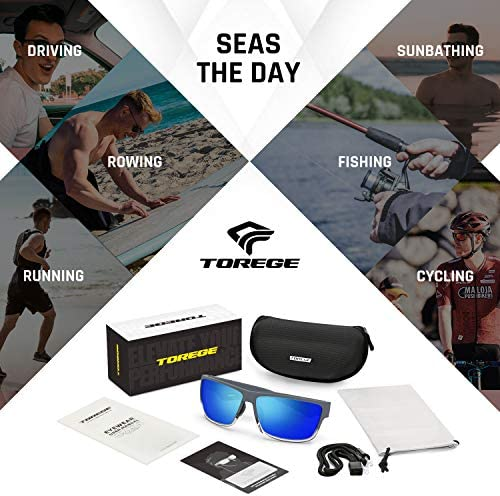 TOREGE Polarized Sports Sunglasses for Men and Women Cycling Running Golf Fishing Sunglasses TR26