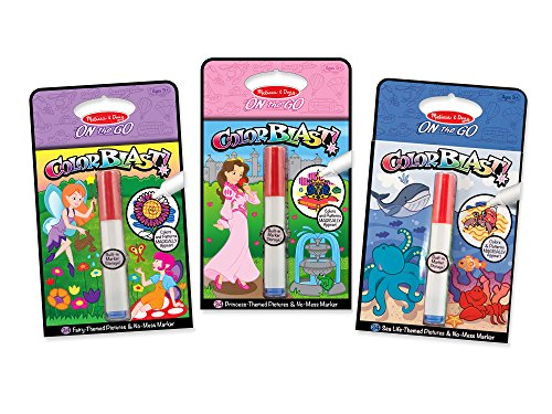 (Melissa & Doug On the Go ColorBlast No-Mess Coloring Pad 3-Pack, Fairy, Princess, Sea Life (24 Color-Reveal Pictures, Invisible Ink Marker))