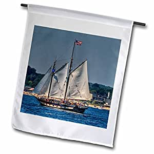 Roni Chastain Sea Scapes - Sailing 3 masted ship, American Flag at top - 12 x 18 inch Garden Flag (fl_98402_1)