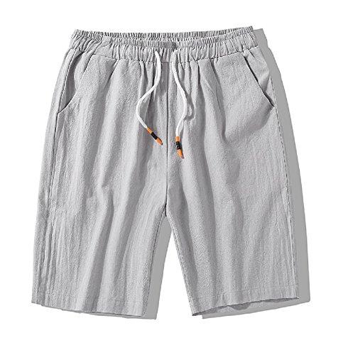 XRDshoes Men's Casual Cotton and Linen Pants Summer Beach Trend Fashion Linen Shorts (Lightgrey, L) by XRDshoes