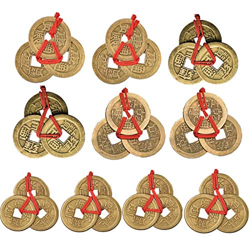 Dreamworth 10 Sets Chinese Fortune Coins Feng Shui Coins I-Ching Coins Traditional Coins with Red String for Wealth and Success ()