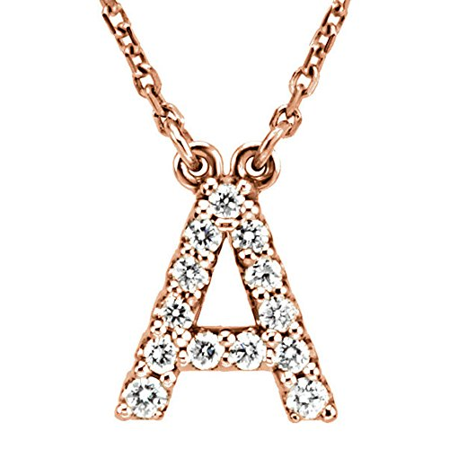 Dazzlingrock Collection 0.12 Carat (ctw) 14K Diamond Uppercase Letter A Initial Pendant (Gold Chain Included), Rose Gold