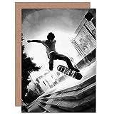 Skateboarder Trick BW Greetings Card