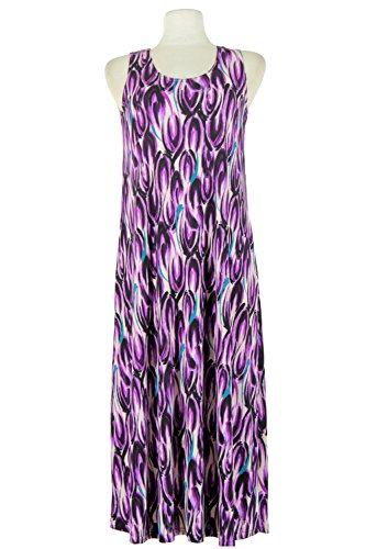Jostar Stretchy Long Tank Dress with Print in Abstract Design (Abstract Design Dress)