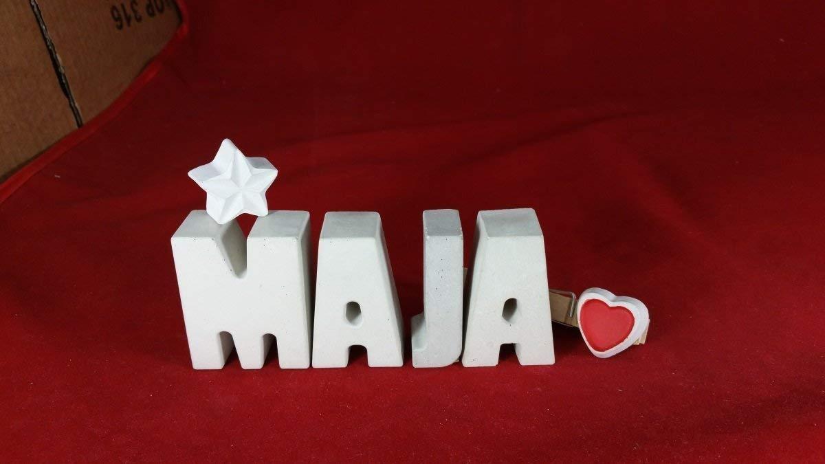 Beton, Steinguss Buchstaben 3 D Deko Schriftzug Namen MAJA als Geschenk verpackt! Ein ausgefallenes Geschenk zur Geburt, Taufe, Geburtstag, Namenstag oder auch zu anderen Anlässen.
