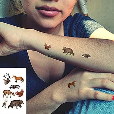 5pcs Tatuaje Impermeable Etiqueta engomada del Lobo Animal Cabeza ...