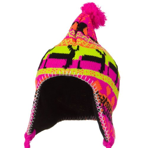(Solid Wing Neon Ear Cover Deer Knit Hat - Pink)
