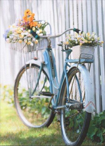 Bike with Flowers Mother's Day Card (Picket Fence Bouquet)