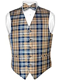 Men's Plaid Design Dress Vest & BOWTie Navy Brown White BOW Tie Set