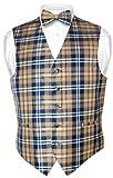 Men's Plaid Design Dress Vest & BOWTie Navy Brown White BOW Tie Set XLarge