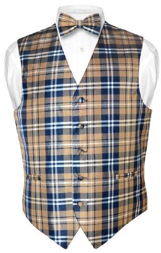 Men's Plaid Design Dress Vest & BOWTie Navy Brown White BOW Tie Set sz ()