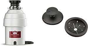 Waste King Legend Series 1 HP Continuous Feed Garbage Disposal with Power Cord - (L-8000) & 1025 EZ Mount Garbage Disposal Stopper and Splash Guard, Black