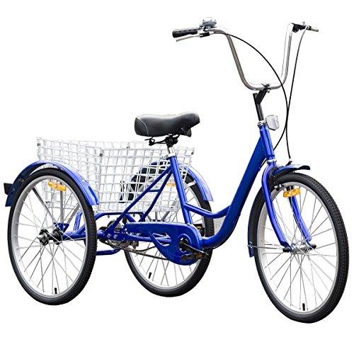 MD Group Speed Tricycle Blue Single 3 Wheels Bike Cruiser Style Adjustable Sear Outdoor (Triton Three Wheel)