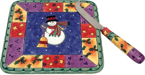 Sango Sweet Shoppe Christmas Cheese Tray with Knife