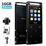 16GB Bluetooth MP3 Player with FM Radio/Voice Recorder,MP3 Players Lossless Sound, Metal Touch Button, 1.8 inch Color Screen, 50 Hours Playback, HD Sound Quality Earphone, with an Armband, Black