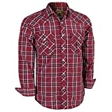 Coevals Club Men's Long Sleeve Casual Western Plaid Buttons Shirt (XL, 8#red,White)