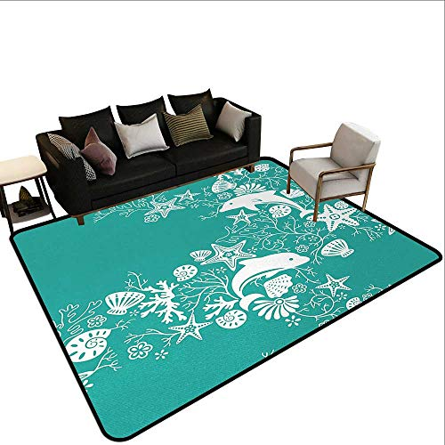 (Bedroom Rugs Sea Animals,Dolphins Flowers Sea Life Floral Pattern Starfish Coral Seashell Wallpaper,Sea Green White,for Entryway and Bedroom 2'x 4' )