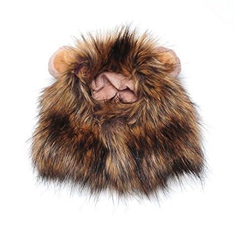 sungpunet 1 pcs mascotas perro gato León Mane peluca con pequeñas orejas Halloween Dress Up: Amazon.es: Productos para mascotas