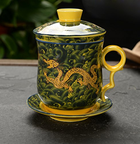 Ufengke4-piece dehua ceramic tea cup with filter, saucer, and lid-yellow and dragons pattern