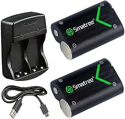 Smatree Batería de Controlador Xbox One, Batería Recargable 2000mAH (Pack-2) & Cargador de Batería Dual para Xbox One, Xbox One Elite, Xbox One S, ...