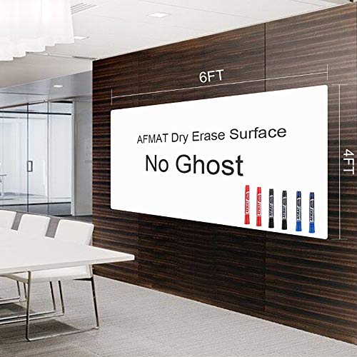 Dry Erase Paper, 6'x4' Whiteboard Paper Roll, 72 x 48 inches White Board Adhesive Wallpaper, Large Stick on Whiteboard, Dry Erase Roll for Walls/Tables/Doors, 6 Markers, Super Sticky, No Ghost