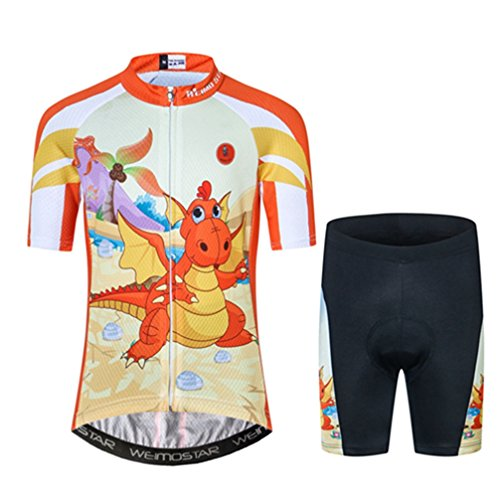 Kids Cycling Jersey Short Set Children Bike Gel Padded Bicycle Short Sleeve Jersey Suit S