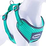 ThinkPet Reflective Breathable Soft Air Mesh No Pull Puppy Choke Free Over Head Vest Ventilation Harness for Puppy Small Medium Dogs and Cats Neon Green Neck 10-18 in/Chest 15-23 in