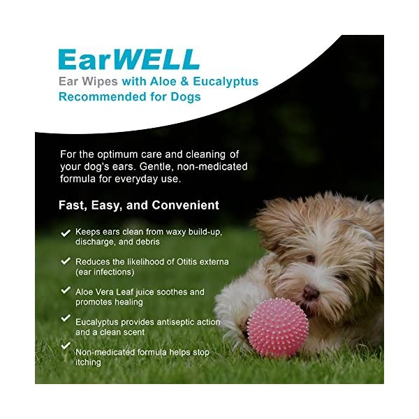VetWELL Dog Ear Wipes - Otic Cleaning Wipes for Infections and Controlling Yeast, Mites and Odor in Pets - EarWELL 100 Count 3