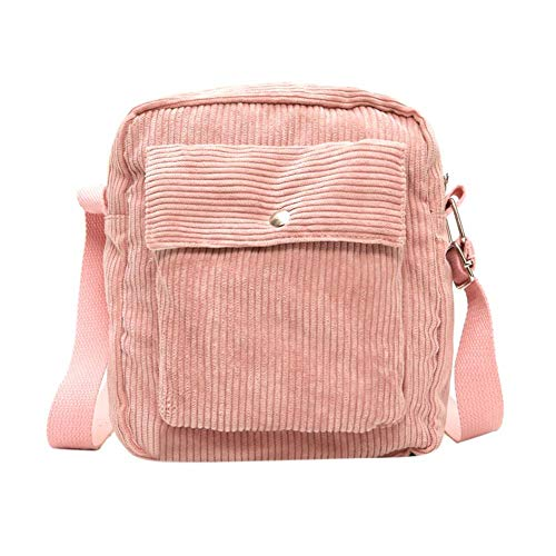 Amazingdeal Simple Women Corduroy Messenger Shoulder Bags Solid Crossbody Bag (Pink)